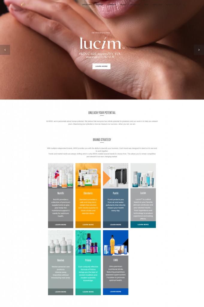 screen shot of the ariix website